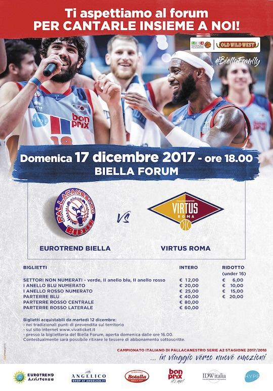 A2 Ovest Old Wild West 2017-18: i biglietti per Eurotrend Biella-Virtus Roma di domenica 17 dicembre