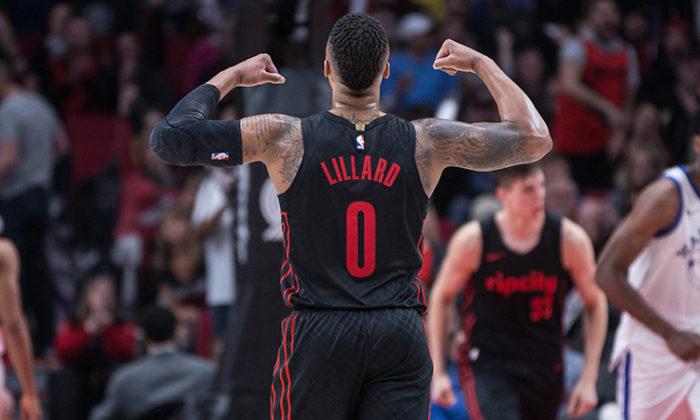 NBA 2017-18 nella notte del 12 Marzo Lillard super trascina i Trail Blazers al 3° posto ad Ovest