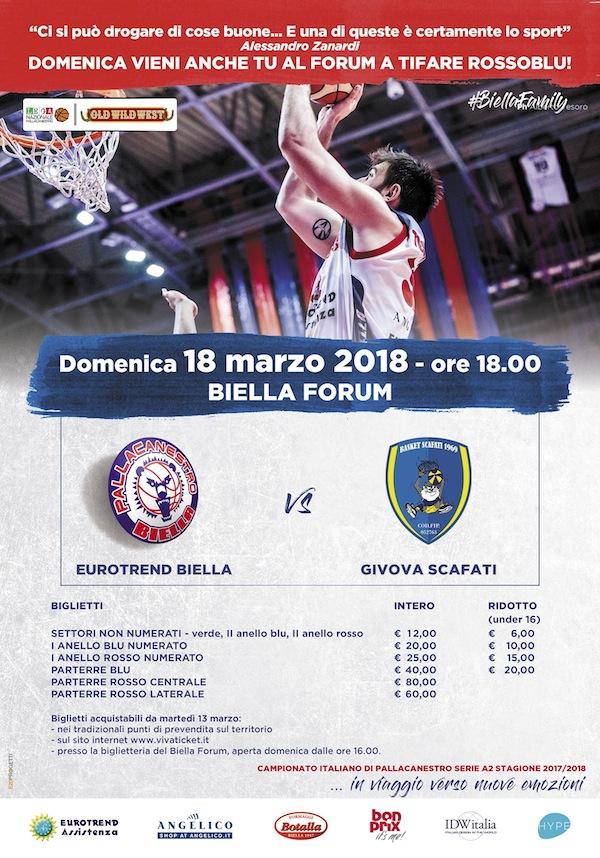 A2 Ovest Old Wild West 2017-18: le info sui biglietti per Eurotrend Biella-Givova Scafati del 18 marzo