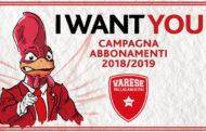 Lega A PosteMobile 2018-19: parte la nuova Campagna Abbonamenti della Pallacanestro Varese I WANT YOU